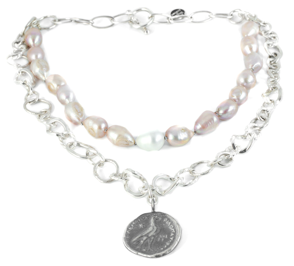 2-row pearl and silver necklace