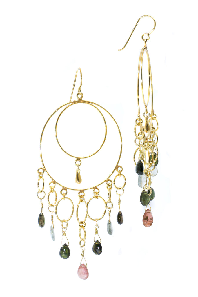 Multi-stone bohemian earrings