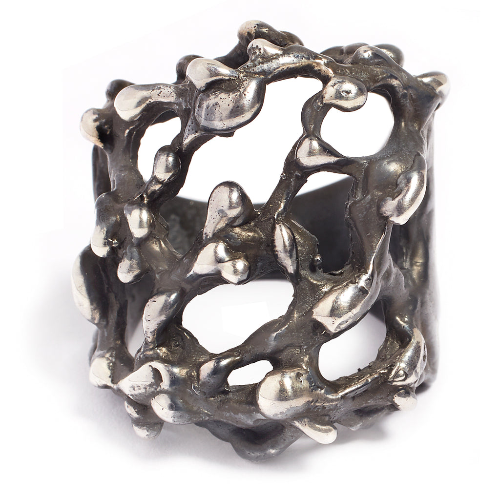Oxidized silver men's ring