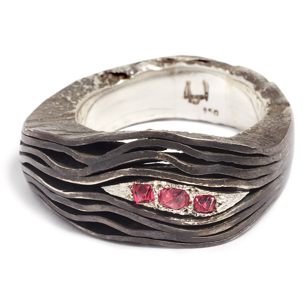 Silver and spinel ring for men