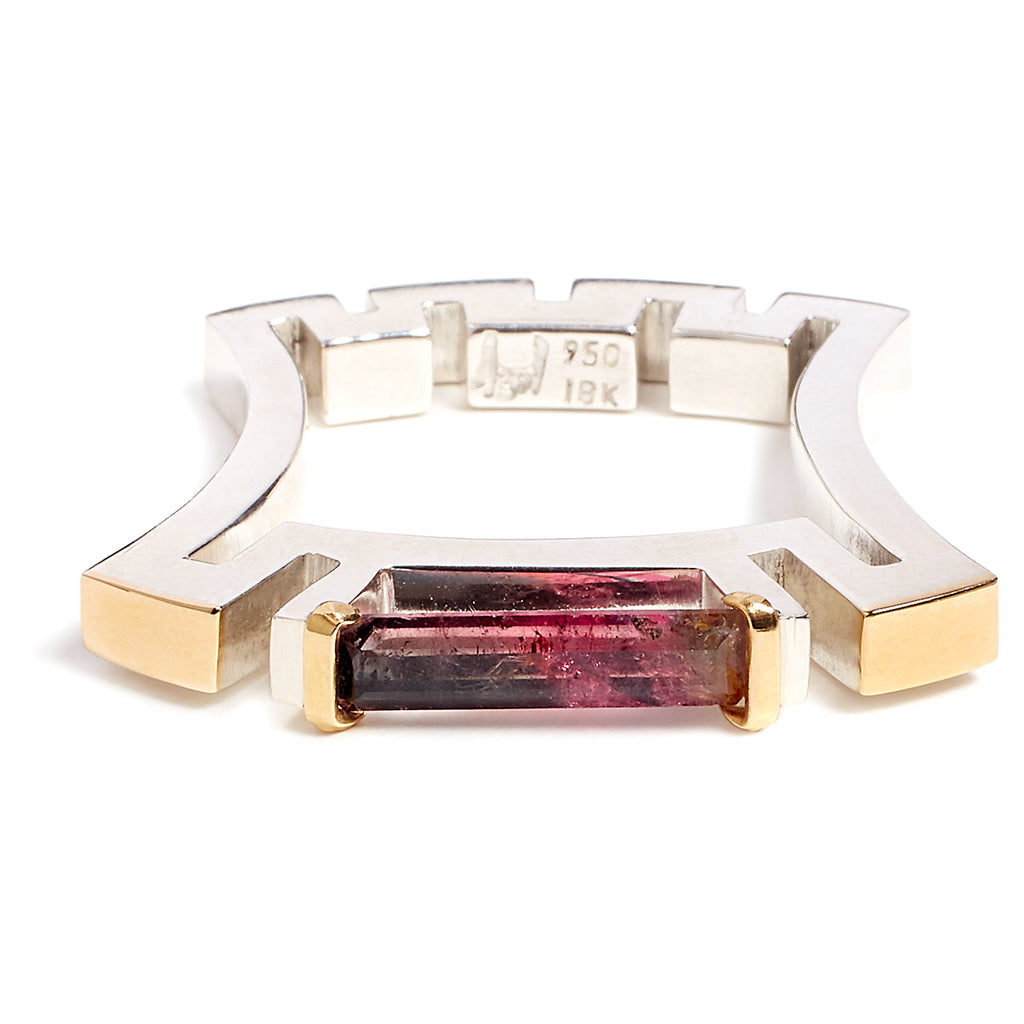 Silver, gold and tourmaline ring