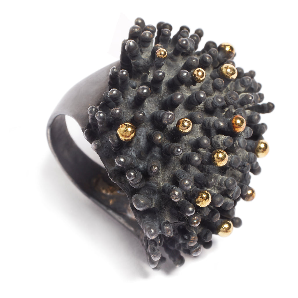 BLACK GOLD CORAL RING