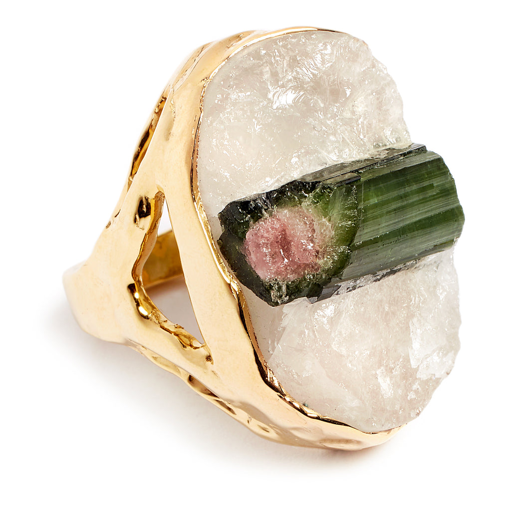 Gold plated silver ring and raw tourmaline