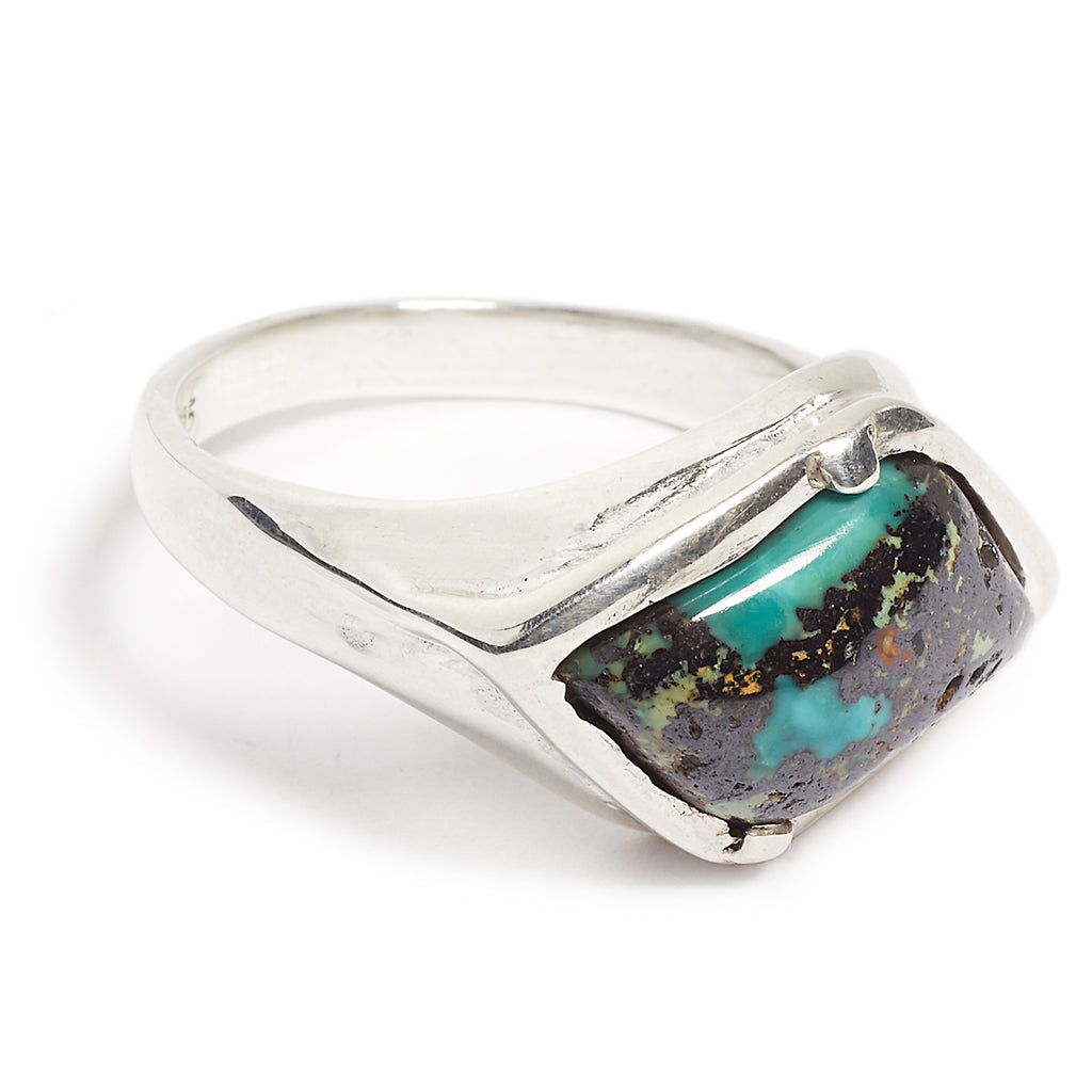 Silver and turquoise men's ring