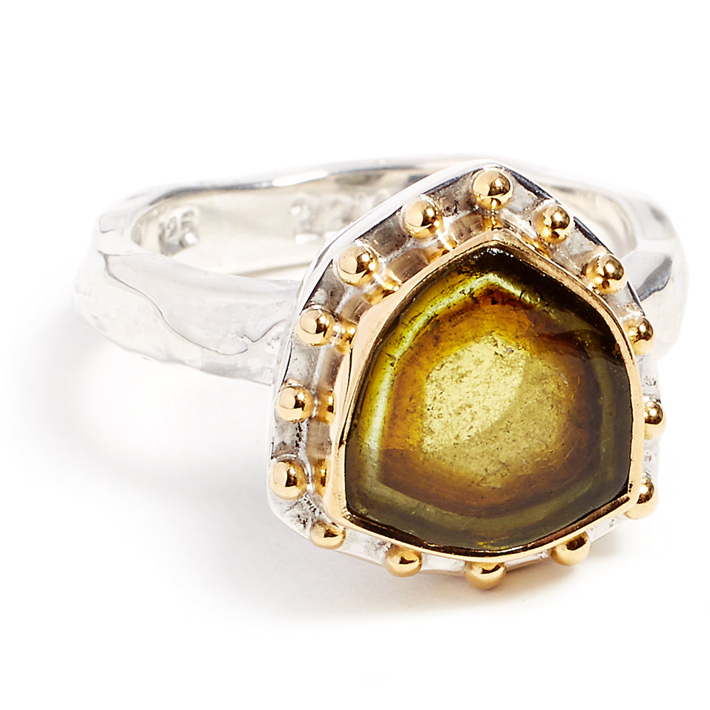 Silver, gold and green tourmaline ring