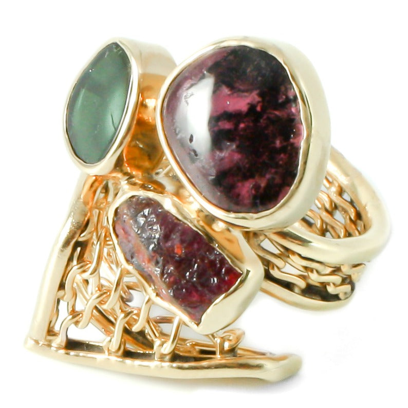 Gold multi-tourmaline ring