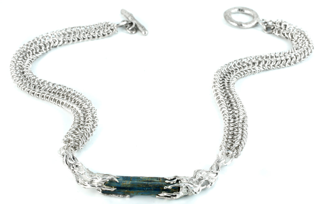 Silver and kyanite necklace