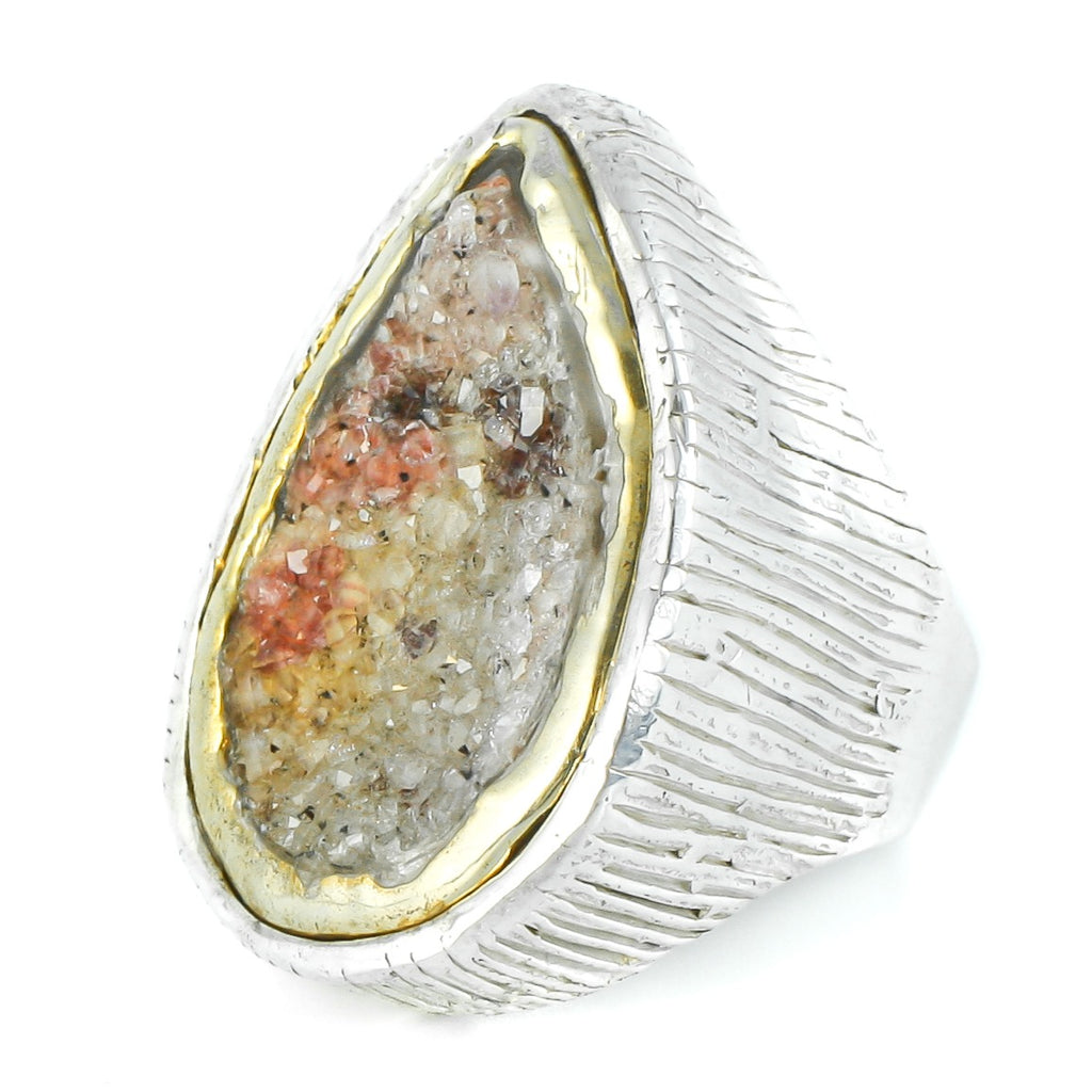Silver and druse ring