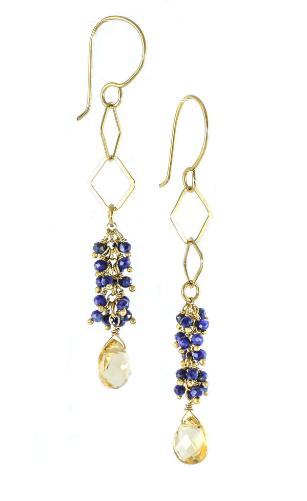Lapis-lazuli and citrine earrings