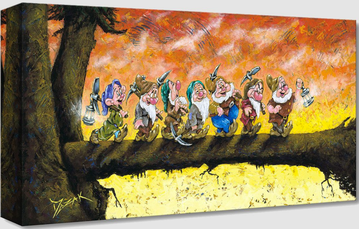 small painting by Trevor Mezak of Disney's Seven Dwarves walking in line on a tree branch with a yellow and orange background