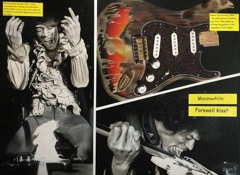 Painted image of Jimi Hendrix and his guitar