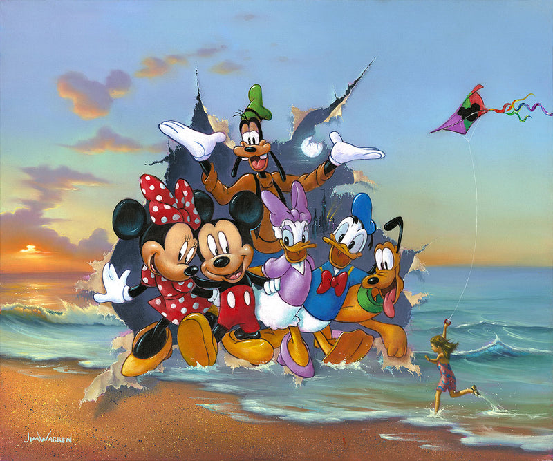 painting by jim Warren of disney characters breaking through the canvas with a sunset on the ocean in the background and a little girl flying a kite on the sandy beach in foreground