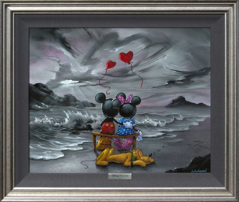 painting in silver frame with mickey mouse and minnie mouse sitting on a bench looking at the ocean waves and a cloudy sky, Two red heart shaped balloons float above their heads and goofy sleeps underneath the bench they sit on