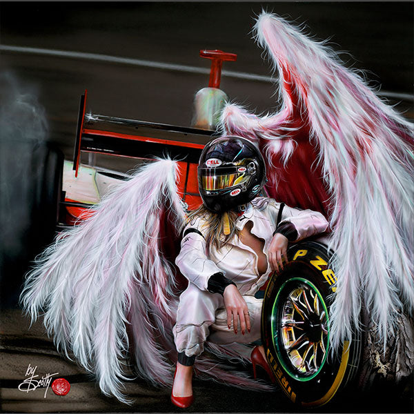 Painting by Scotty Ziegler of an angel with pink wings wearing a racing suit and helmet, and red high heels squats next to the wheel of a race car