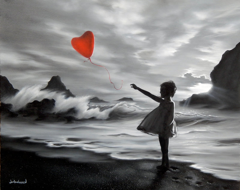 Mostly black and white Painting by Jim Warren of a little girl on the beach with a red balloon and cloudy sky and waves in the background
