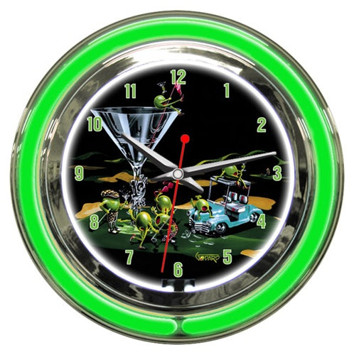 "Chrome and neon green lights the outer rim of this clock. A martini glass with ""19th Hole"" on the stem sits on the green of a golf course. A light teal golf cart next to the glass has two olives hanging out on top of it. Four olives, two female, two male drink their martinis and wave their golf clubs around, while a female olive sits on top of the glass holding the red flag."