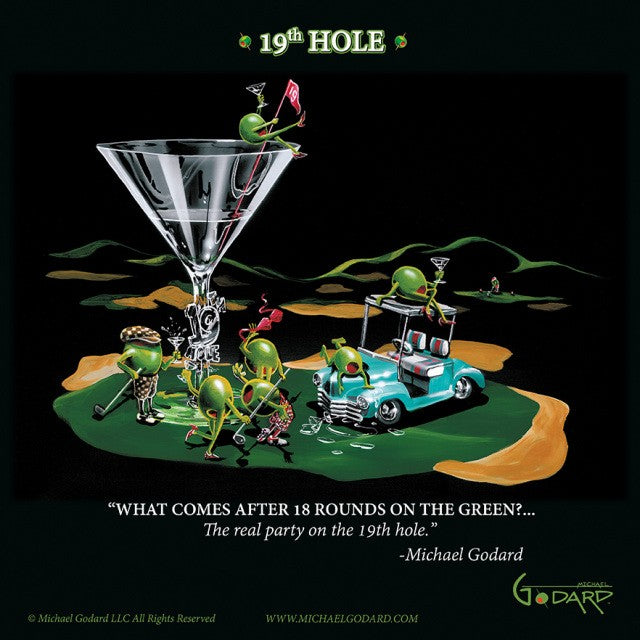 "12""x12"" poster framed print. A martini glass with ""19th Hole"" on the stem sits on the green of a golf course. A light teal golf cart next to the glass has two olives hanging out on top of it. Four olives, two female, two male drink their martinis and wave their golf clubs around, while a female olive sits on top of the glass holding the red flag. ""What comes after 18 rounds on the green?... The real party on the 19th hole."" Michael Godard"