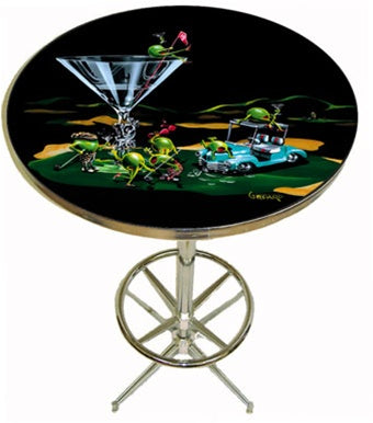 "Pub table with chrome legs. A martini glass with ""19th Hole"" on the stem sits on the green of a golf course. A light teal golf cart next to the glass has two olives hanging out on top of it. Four olives, two female, two male drink their martinis and wave their golf clubs around, while a female olive sits on top of the glass holding the red flag."