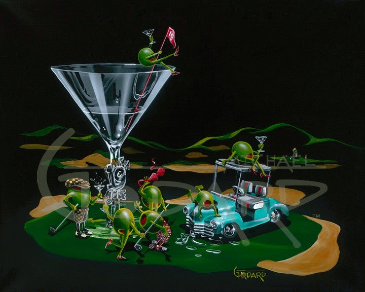 "Canvas Print. A martini glass with ""19th Hole"" on the stem sits on the green of a golf course. A light teal golf cart next to the glass has two olives hanging out on top of it. Four olives, two female, two male drink their martinis and wave their golf clubs around, while a female olive sits on top of the glass holding the red flag."