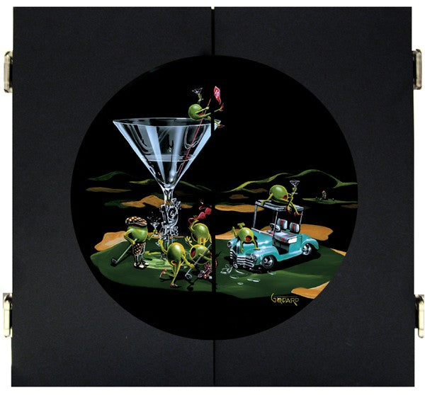 "Black wooden dart board. A martini glass with ""19th Hole"" on the stem sits on the green of a golf course. A light teal golf cart next to the glass has two olives hanging out on top of it. Four olives, two female, two male drink their martinis and wave their golf clubs around, while a female olive sits on top of the glass holding the red flag."
