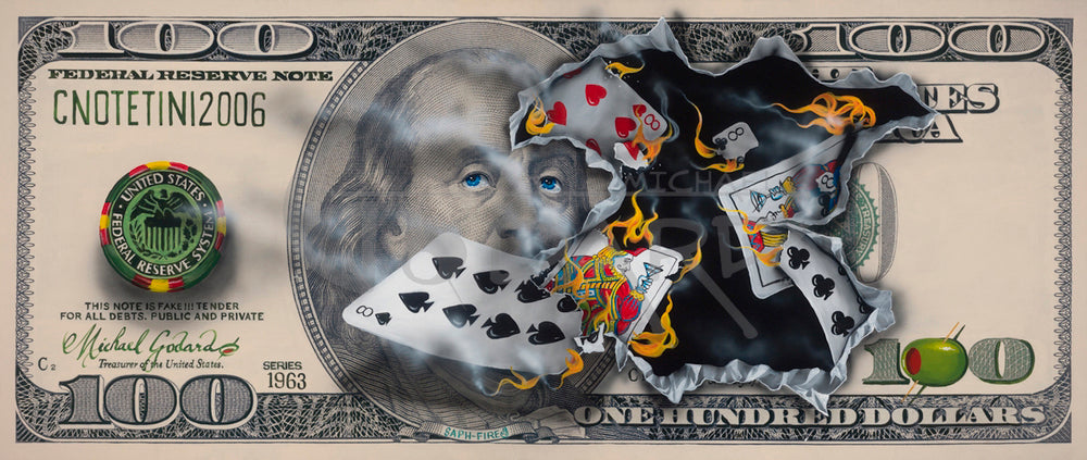 "Canvas Print. A $100 bill featuring American founding father Benjamin Franklin. A money chip on the left says ""US Federal Reserve System"". Five cards show a Full house with three 8's and two Jacks. A green olive replaces the first zero in $100 bottom right. Top left, ""CNOTETINI2006""."
