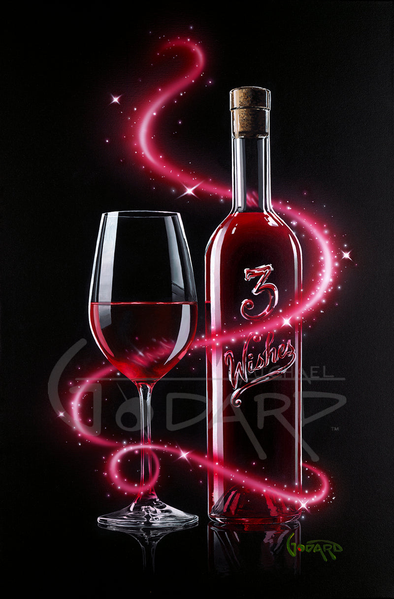 "Black canvas. A beautiful pink, magenta sparkles around a wine glass half full of rose colored wine. It sits next to a bottle of wine adorned with ""3 Wishes""."
