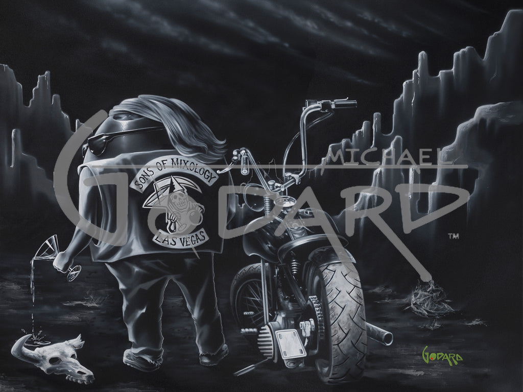 Michael Godard painting of an olive with a motorcycle painted in black and white as a parody of Sons of Anarchy