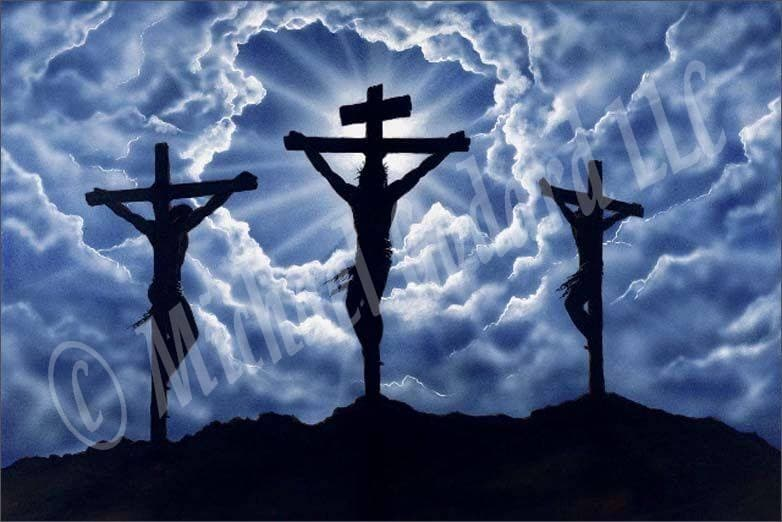 This painting depicts Jesus on the cross, positioned in three different angles. Blue and white clouds outline the middle cross with the son shining from behind it. Very spiritual painting.