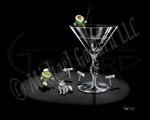 "Black background canvas. A martini glass with a bear on the stem made of ""ice"" sits with an olive adorned in white fur atop the glass ""fishing"" for his salmon that's inside the glass. A female olive walks her wolf dog on a leash. Three arrow signs reading Skagway, Juneau, and Ketchikan surround the glass."
