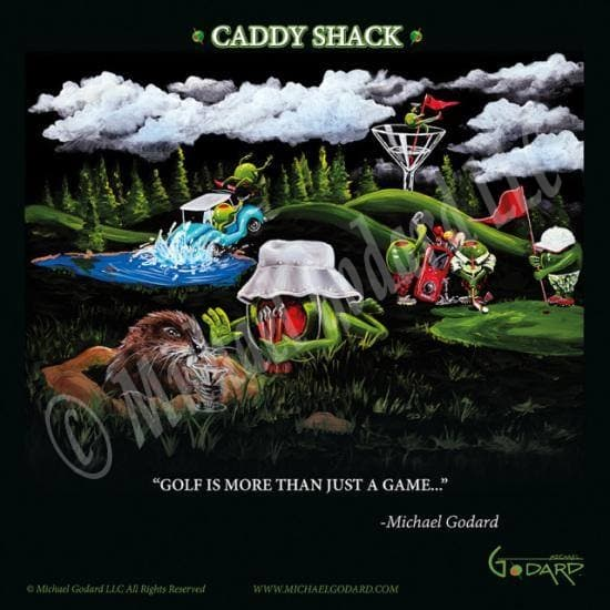"Black background framed poster print, depicting the movie Caddy Shack with a green olive golfer and a gopher in the grass while a blue golf cart crashes into the water with two olives. Three green olive golfers are on the green playing and a female olive holds the red flag as she parties on the rim of a martini glass. While clouds and tall green pine trees line the skyline. ""Golf is more than just a game"""
