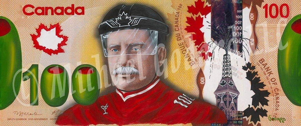 "Canvas Print. The word ""Canada"" is at the top of this Canadian $100 bill. ""Bank of Canada"". A light skinned man with a white mustache wearing a black hat with the silhouette of a maple leaf. Olives replace the two zero's in ""100""."