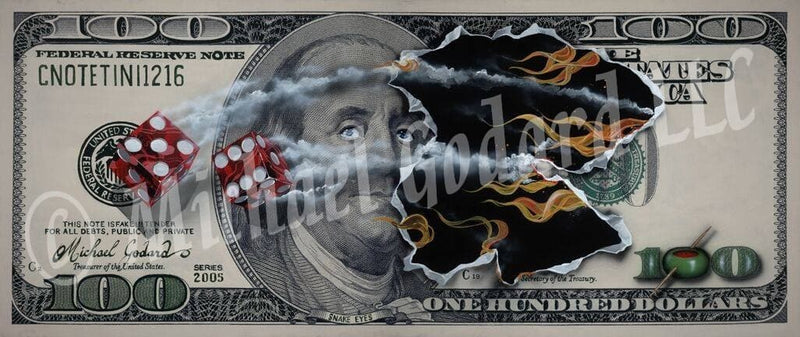 "Canvas Print. A $100 bill featuring American founding father Benjamin Franklin. Two red dice, one showing a five and the other a six. Fire burning through the center of the bill where the dice came through. A green olive replaces the first zero in $100 bottom right. Top left, ""CNOTETINI2006"""