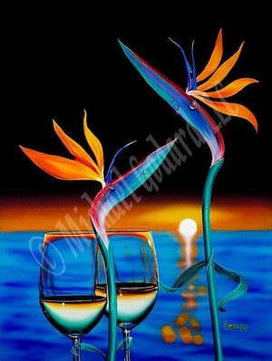 "Black top background with blue water and the orange sun setting on the lower half of the canvas. Two half filled white wine glasses and two birds of paradise flowers. The flowers are adorned with a teal, blue and pink ""head"" and orange ""hair"". The stems and ""arms"" are green."