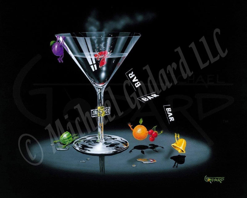 "Black background canvas featuring a martini glass with the word ""jackpot"" in the stem of the glass. This piece is depicting the fruit inside the slot machines on their days off. There is a gold bell, an orange, and three red cherries reaching up for the falling ""Bars."" A watermelon seems to have been cut in half and laying in a puddle of vodka. A purple grape hangs on the side of the glass. A red number 7 floats inside the glass."