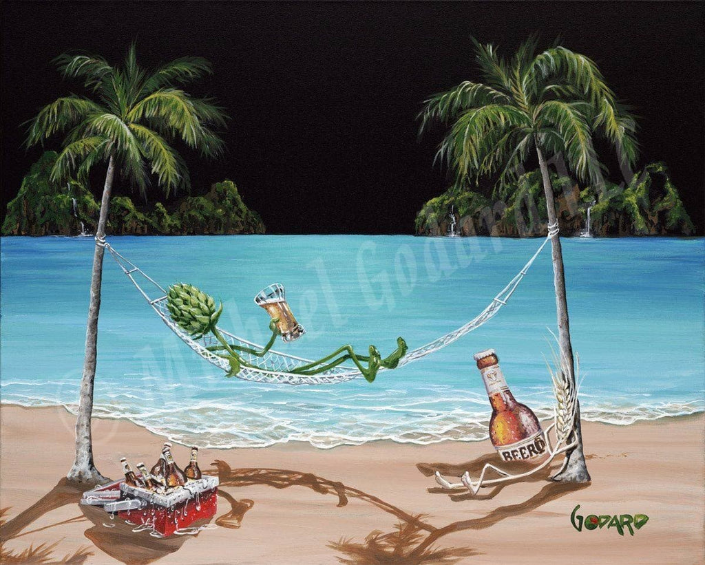 "Black background canvas featuring ""hops"" relaxing on a hammock between two palm trees. He's hanging with his friend ""wheat""  while they chill with a red ice chest filled with beer. The ocean waves are gently lapping at the beach."