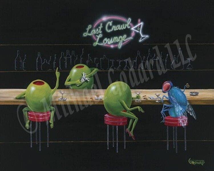"Black background canvas depicting two green olives and a blue fly sitting at a bar. One male olive ordering another drink from the male bartender and a female olive chatting with a fly. They are all drinking martinis. The sign on the wall says ""Last Crawl Lounge"" in neon. They are sitting on red bar stools."