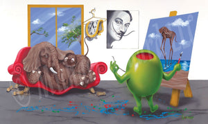 Black background canvas depicting Salvador Dali as a green olive, painting his famous long legged elephant onto the canvas, while a real elephant lays seductively on a red couch with broken legs. A window show the blue sky outside. A black and white photo of Dali hangs on the wall next to a melting clock on a hanger.