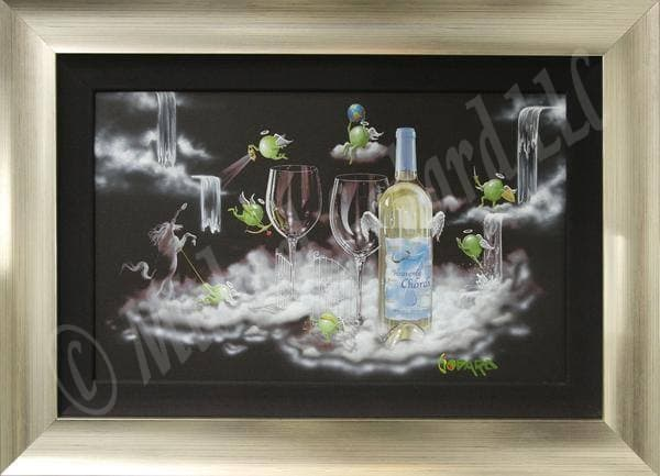 Black background canvas depicting two white wine glasses and a bottle of Seven Heavenly Chards white wine atop fluffy white clouds. Seven angel green olives are hanging out around the heavenly gates.