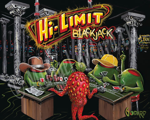 """Hi-Limit Blackjack"" is in yellow and red behind four green male olives playing blackjack, while they drink martinis. One, wears a yellow baseball cap and one wears a brown cowboy hat. The sexy strawberry deals the cards and the slot machines peer through the pillars of the casino."