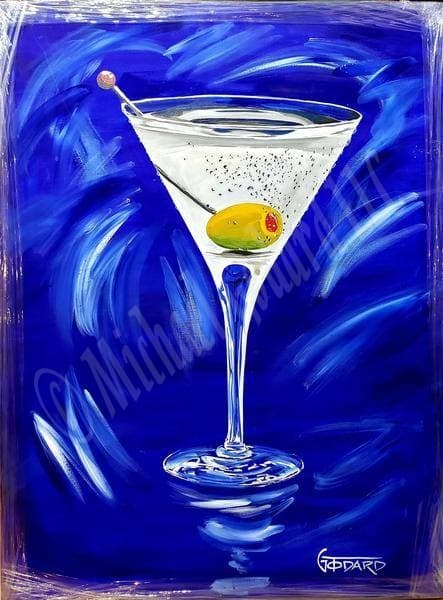 A Michael Godard original painting of a classic martini glass with a green olive resting on the bottom of the glass and a bright blue and wispy white back ground.