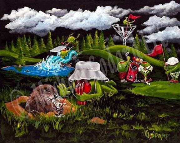 Black background canvas depicting the movie Caddy Shack with a green olive golfer and a gopher in the grass while a blue golf cart crashes into the water with two olives. Three green olive golfers are on the green playing and a female olive holds the red flag as she parties on the rim of a martini glass. While clouds and tall green pine trees line the skyline.