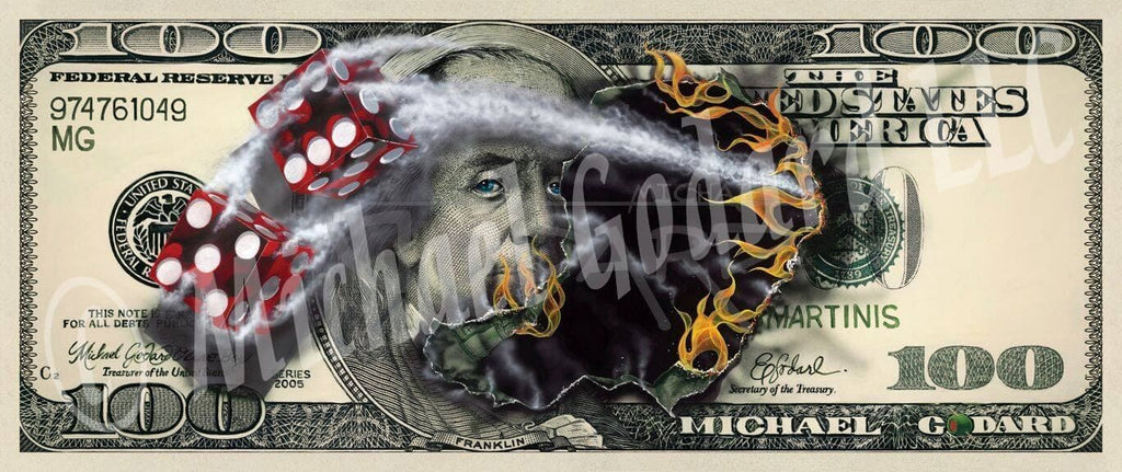 Canvas Print. A very real looking $100 bill featuring American founding father Benjamin Franklin. Two red dice, one showing a five and the other a six. Fire burning through the center of the bill where the dice came through.