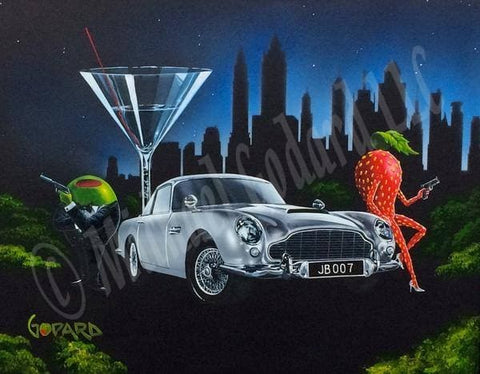 There is a green olive gangster holding a gun and dressed in a black tuxedo standing next to the silver Aston Martin car. A sexy strawberry holding a gun leans on the hood of the car.  A martini glass and the city landscape looms in the back ground with a starry dark blue sky.
