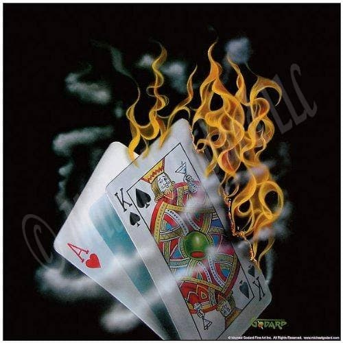 "This is a 12 x 12"" framed print on a black background. This image depicts the hand of cards on fire. The King is holding up a martini as if toasting the winning hand.  There is nothing more enjoyable than playing blackjack with a hot hand."
