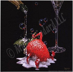 "This 12 x 12"" framed print depicts a sexy strawberry bathing in a bubbly lather of champagne with the bottom of a champagne class also in the image."