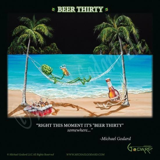 "This is a 12 x 12"" framed print featuring ""hops"" relaxing on a hammock between two palm trees. He's hanging with his friend ""wheat""  while they chill with a red ice chest filled with beer. The ocean waves are gently lapping at the beach. At the bottom it says, ""Right this moment it's ""Beer Thirty"" somewhere..."" -Michael Godard"
