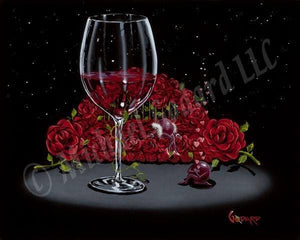 Black background canvas featuring a romantic scene where a purple grape is professing his love in a serenade to his beloved, a sexy lady grape posed on a bed of red roses. His heart-filled serenade floats away into the starry night. A beautiful glass of red wine is centered with a green vine climbing the stem.