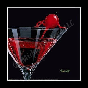 Black background canvas depicting a red cherry sitting on the edge of a martini glass dipping her toes into the cherry martini.