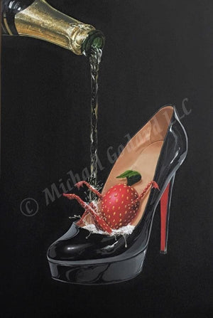 Black background canvas depicting a black Louboutin red bottom shoe with a sexy strawberry sliding down the inside heel while showering in champagne being poured from the bottle.