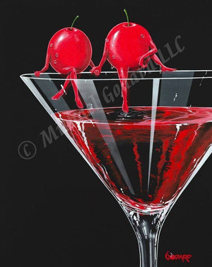 Black background canvas showing two red cherries sitting and holding hands on the edge of a martini glass. He dips his toes into the red martini filling the glass.